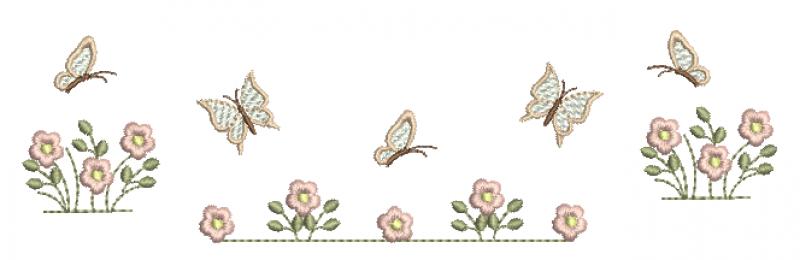 Jardim de Florzinhas com Borboletas - Ponto Cheio