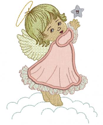 Anjo na Nuvem com Estrela - Aplique