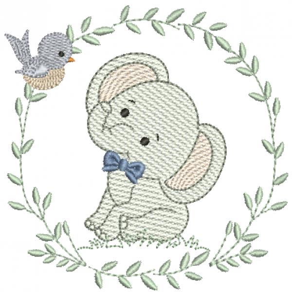 Elefante e Guirlanda de Folhas - Pontos Leves