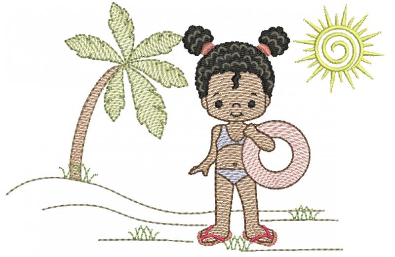 Menina Morena na Praia com Bóia - Rippled