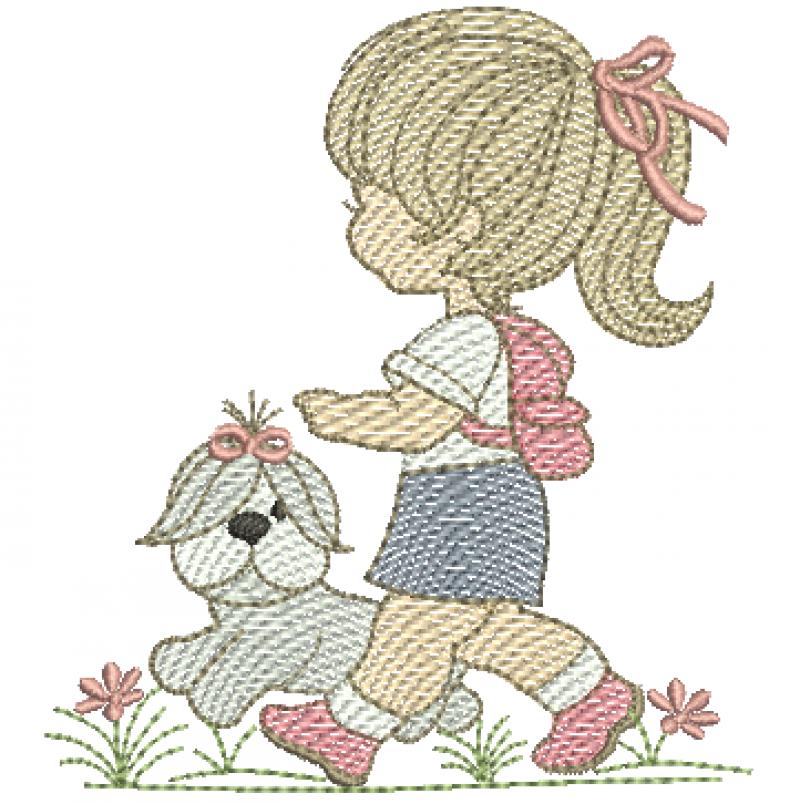 Menina Escolar com Cachorrinho - Rippled