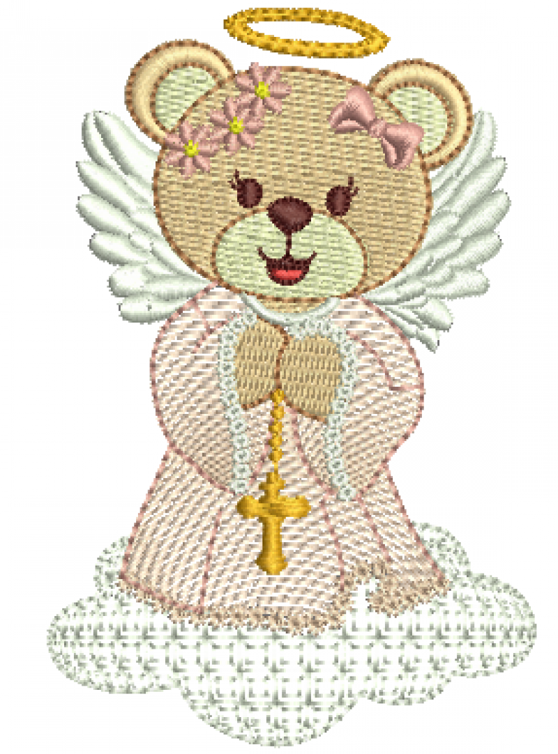 Urso Anjo Menina com Terço Rippled