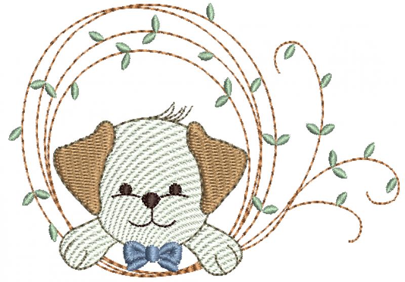 Cachorrinho na Moldura de Folhas - Rippled