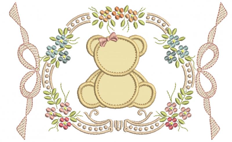 Moldura Floral com Laços e  Ursa em Aplique