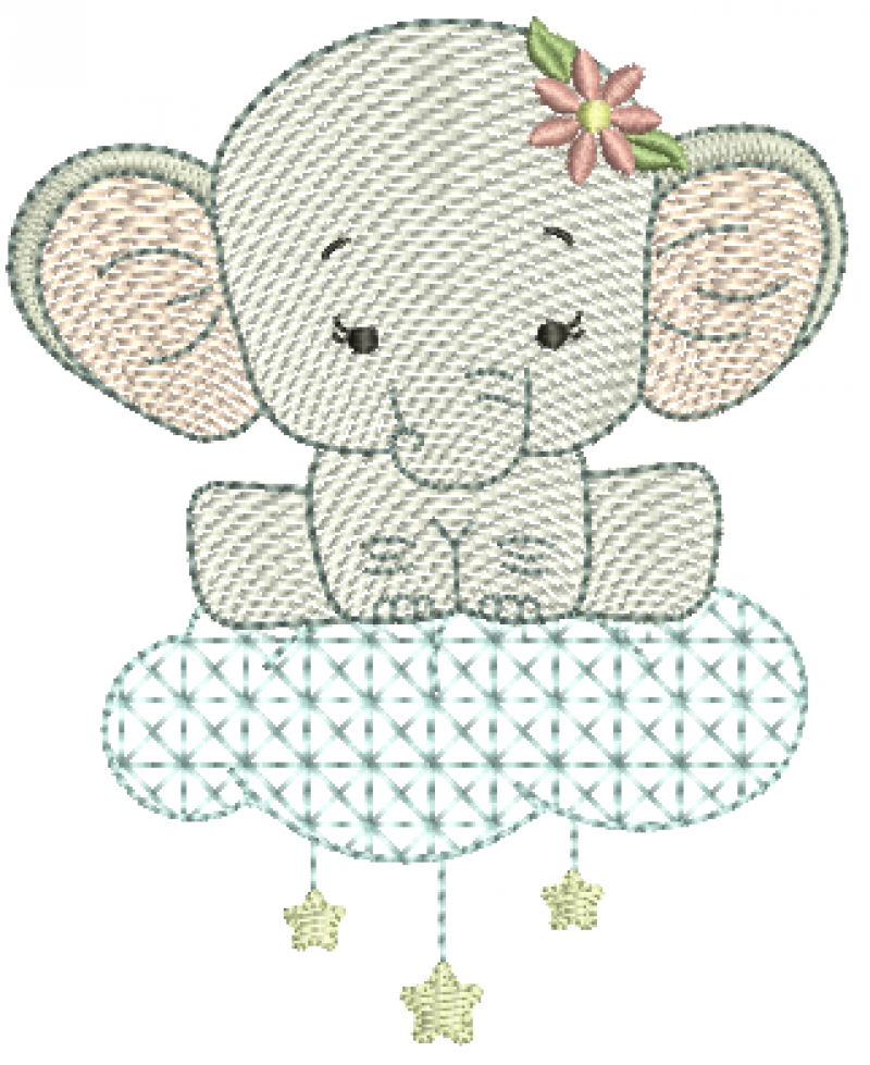 Elefanta na Nuvem com Estrelas - Rippled