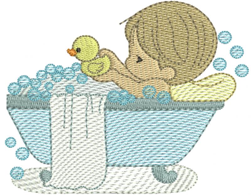 Menino Cute na Banheira Segurando Patinho - Rippled