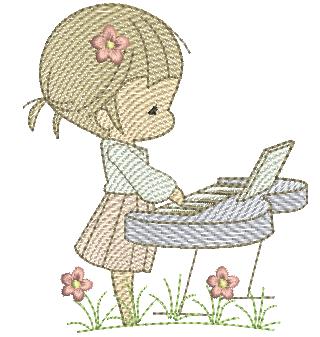 Menina Cute Tocando teclado - Rippled