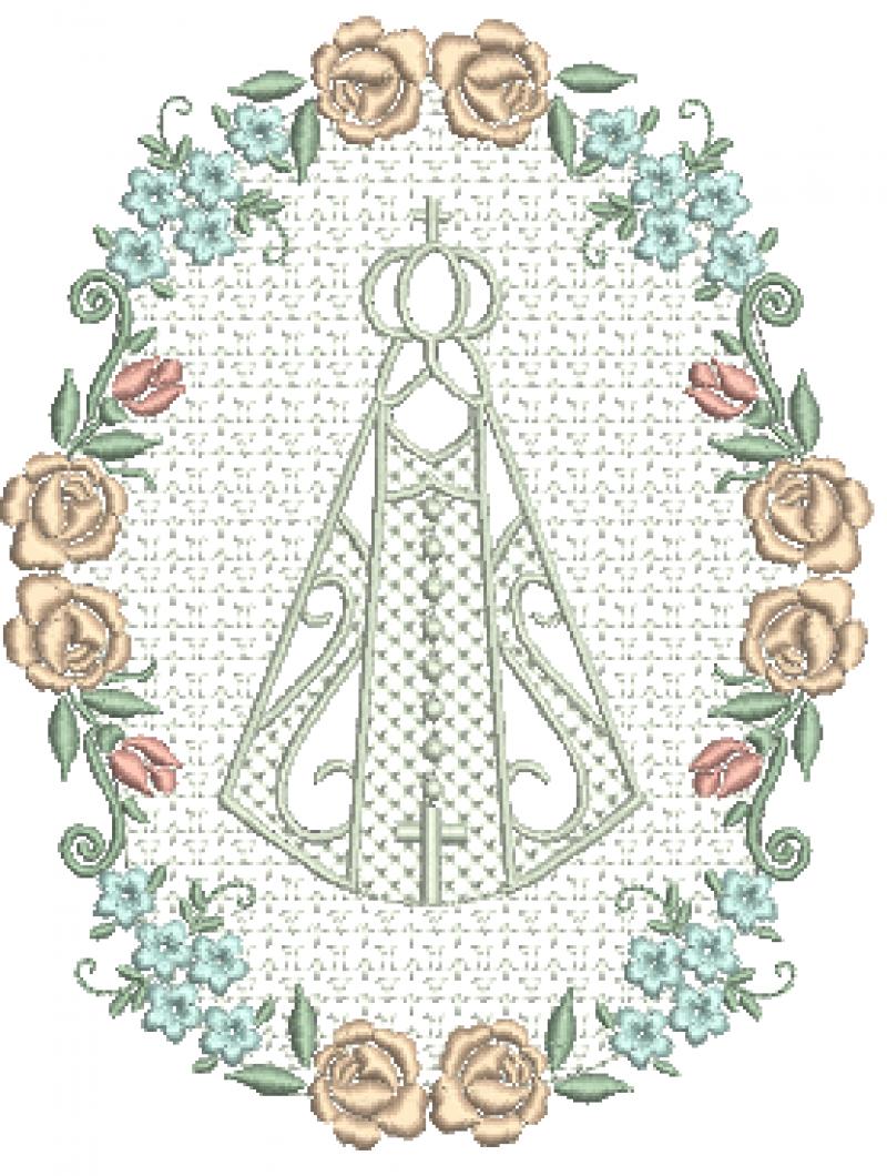 Nossa Senhora com Moldura em Ponto Trabalhado e Flores Coloridas