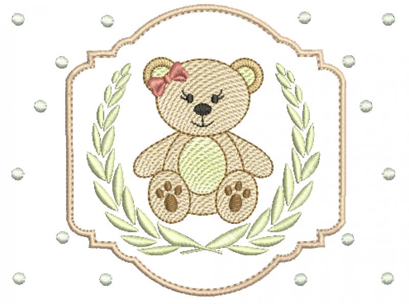 Ursa em Rippled na Moldura e Ramo de Louro em POnto Cheio