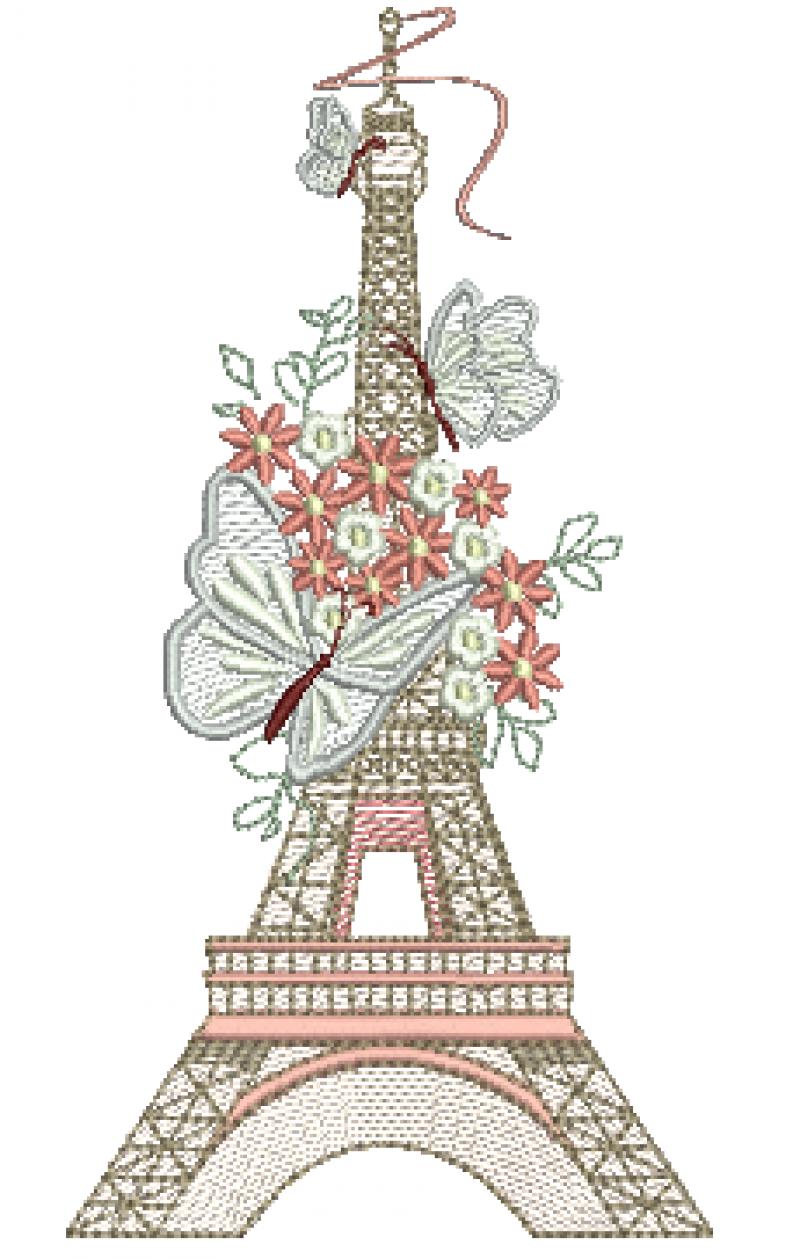 Torre Eiffel com Flores e Borboletas - Rippled