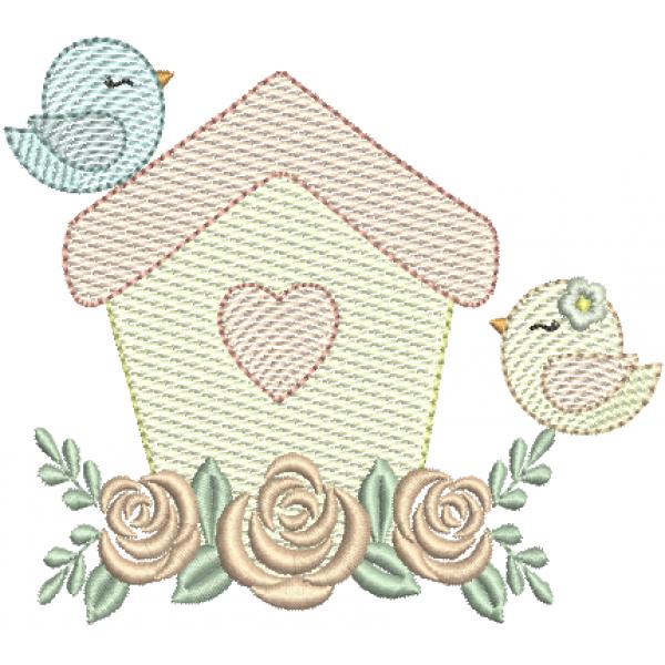 Passarinhos na Casa Pontos Leves e Rosas Ponto Cheio