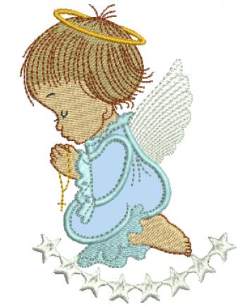 Anjo Menino Orando com Estrelas - Aplique