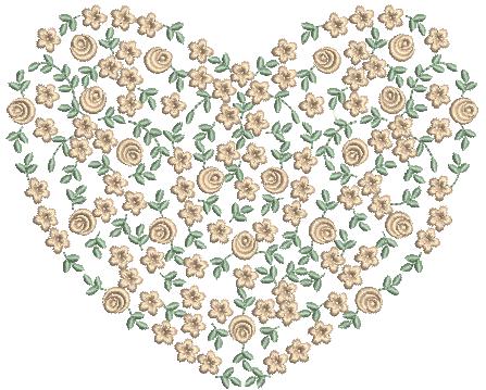 Coração com Flores e Rosas - Ponto Cheio