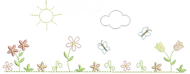 Jardim com Flores e Tulipas - RedWork