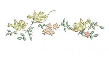 Ramo com Passarinhos e Florzinhas - Rippled