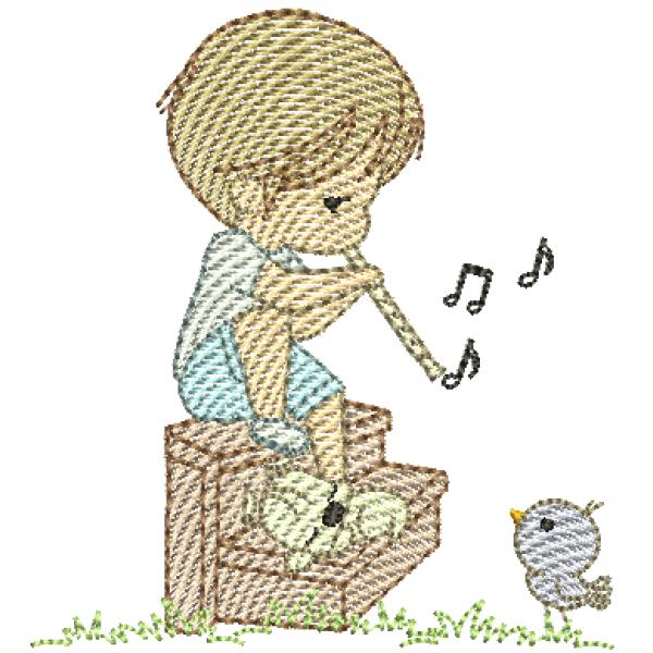 Menino e Flauta Cute - Pontos Leves
