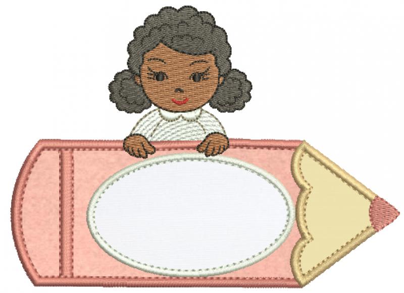 Menina Negra no Lápis -  Aplique