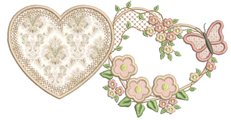 Corações com Ramos de Flores e Borboleta - Aplique