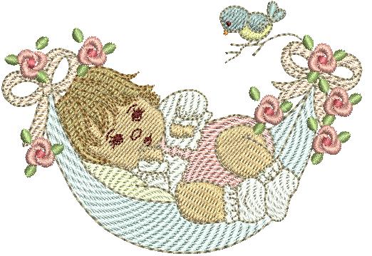 Bebê Menina na Rede - Rippled