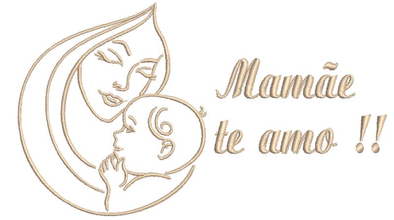 Mãe e Bebê com escrita - Ponto caseado
