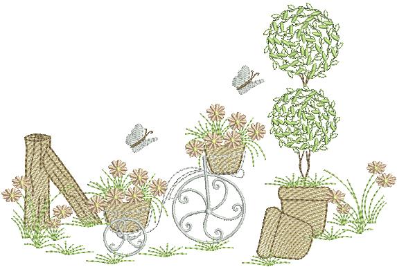 Jardim com Bicicleta - Rippled