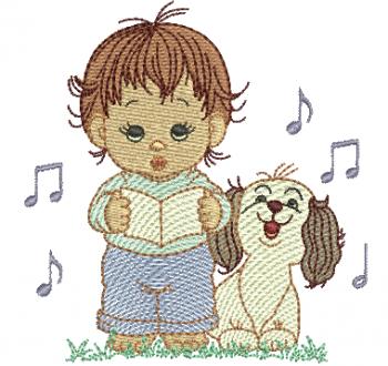 Menino Segurando Livro e com Cachorro - Rippled