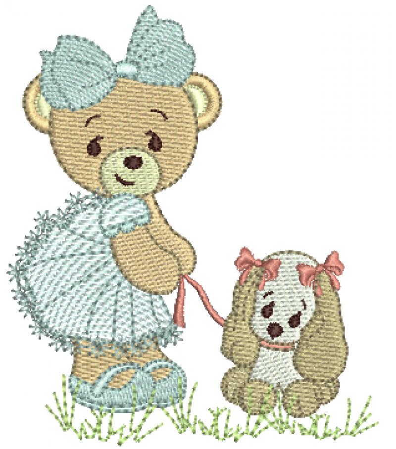 Ursa Segurando Cachorrinho - Ponto Cheio e Rippled