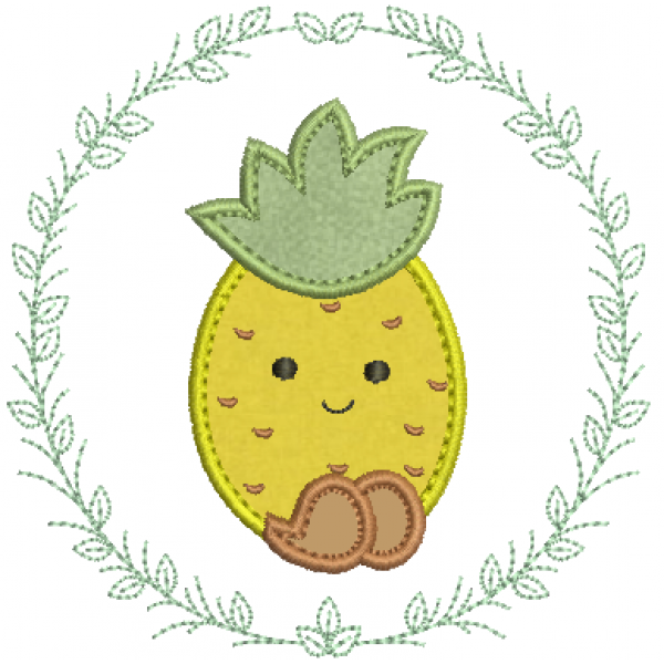 Abacaxi na Moldura - Aplique