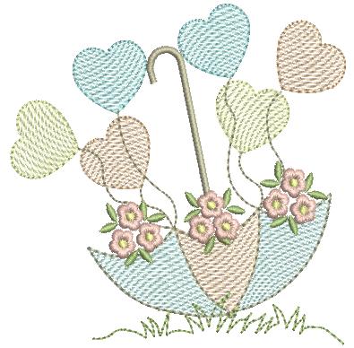Sombrinha com Corações e Flores - Rippled