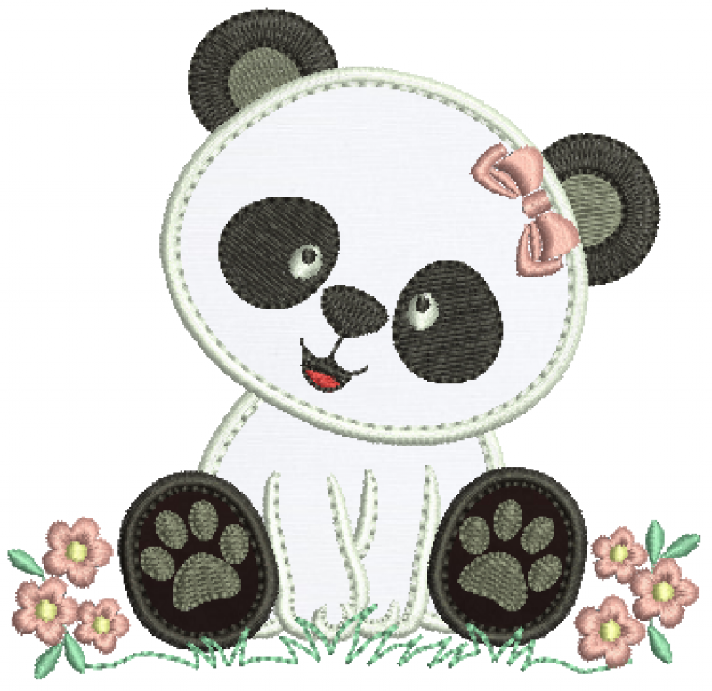 Ursa Panda Sentada - Aplique