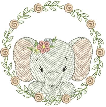 Elefanta na Moldura de Florzinhas - Rippled