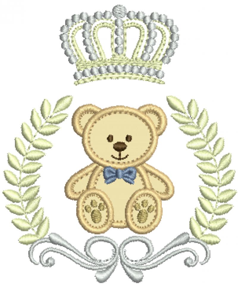 Urso no Ramo com Coroa - Aplique