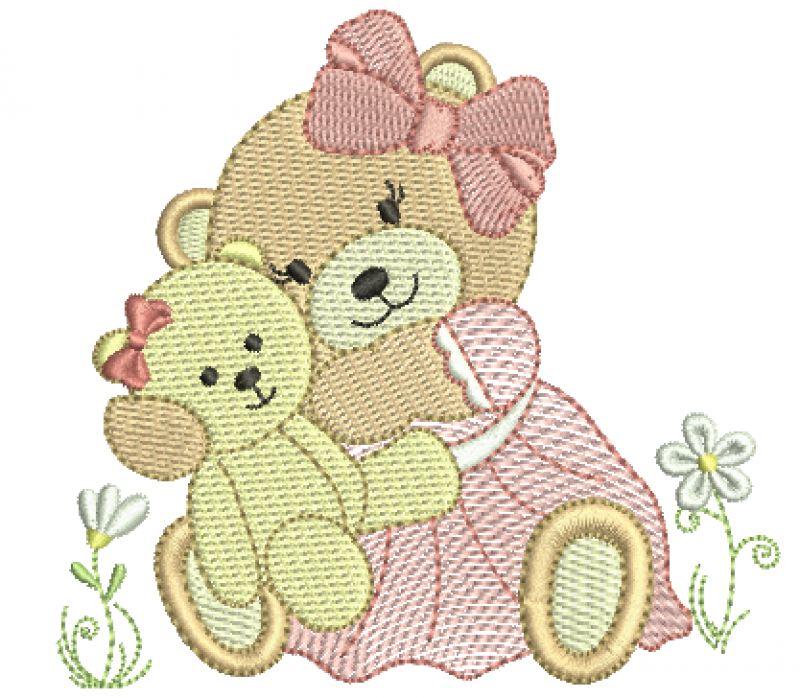 Ursa de laço Segurando Ursinha - Rippled e Ponto Cheio
