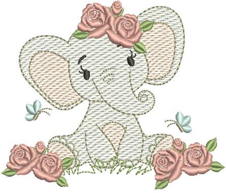 Elefanta com Flores - Rippled
