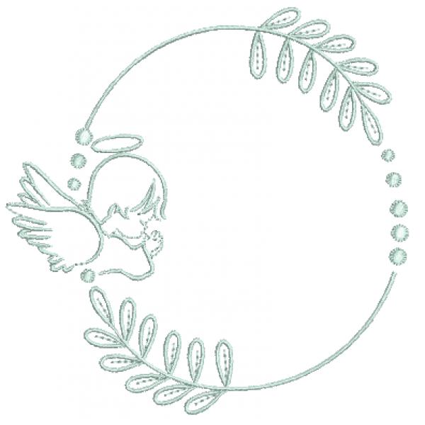 Anjo e Moldura -  Ponto Caseado