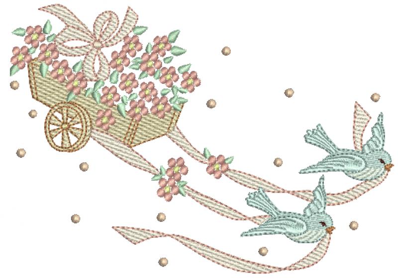 Passarinhos Puxando Carriola de Flores - Ponto Cheio e Rippled