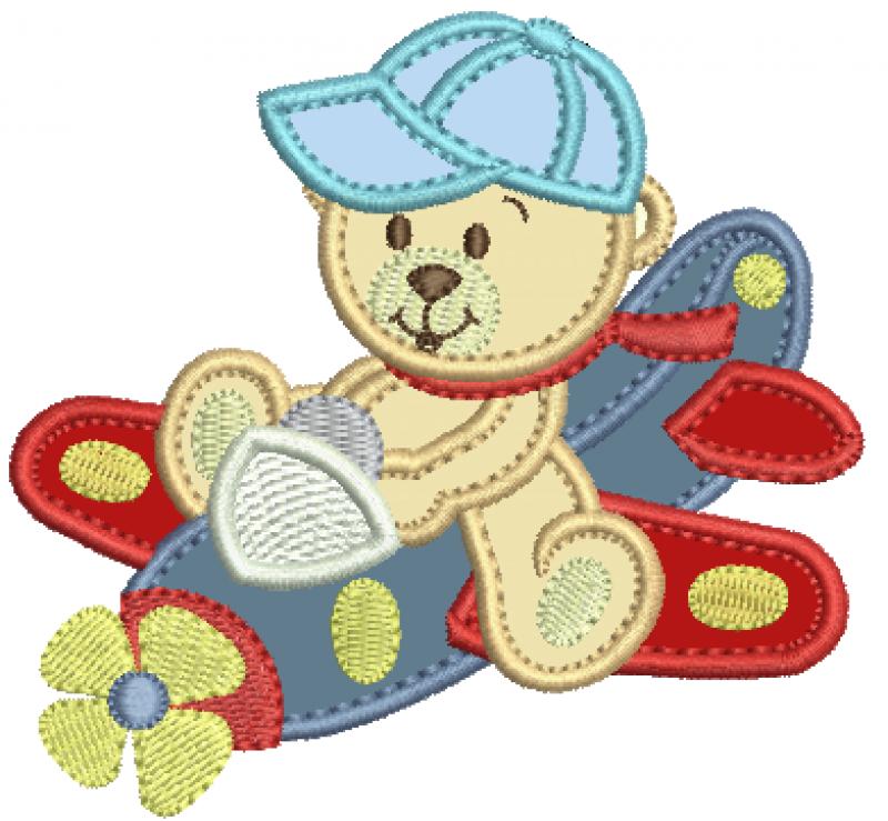 Urso Aviador de Boné - Aplique