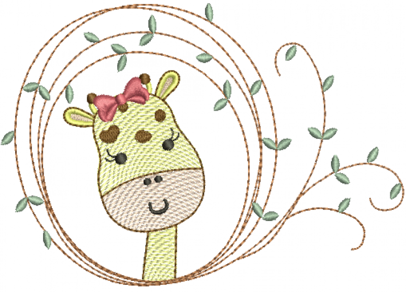 Girafa Menina na Moldura com Folhas - Rippled