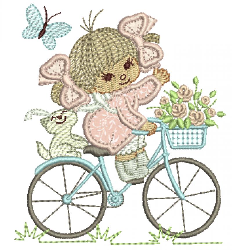 Menina Andando de Bicicleta - Aplique