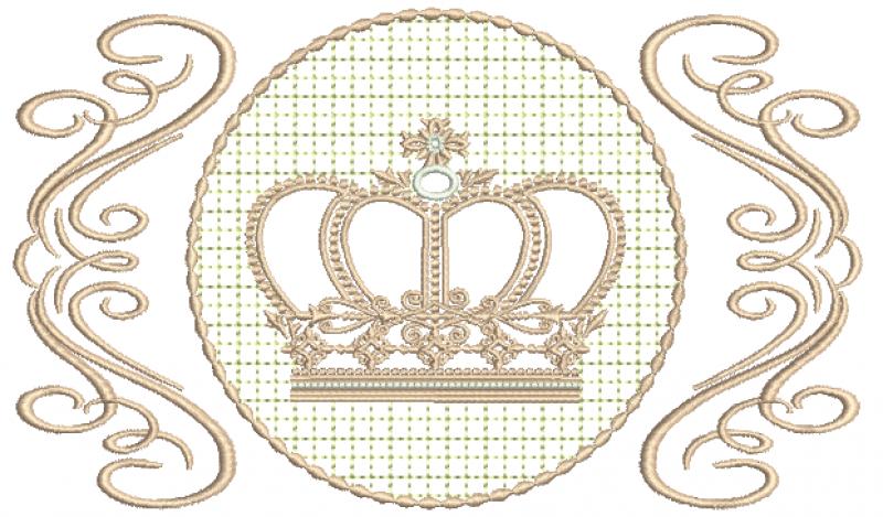 Arabesco com Coroa Realeza - Ponto Cheio e Crivo