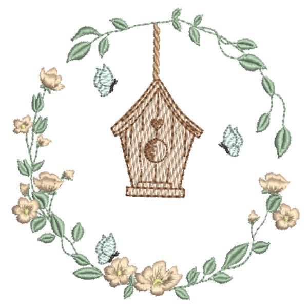 Casa e Borboletas na Guirlanda - Pontos Leves e Cheio