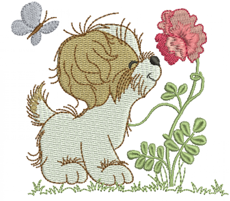 Cachorrinho com Flor - Ponto Cheio