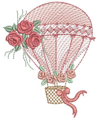 Balão com Rosas - Rippled