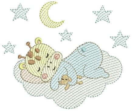 Girafa Menino Dormindo na Nuvem - Rippled