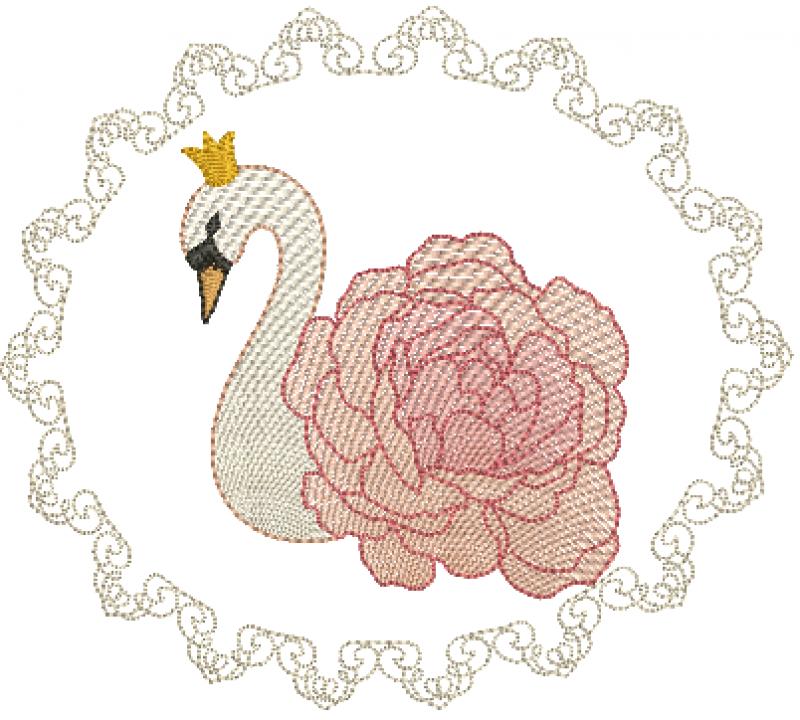 Cisne com Rosa na Moldura - Rippled