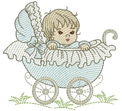 Bebê Menino no Carrinho - Rippled