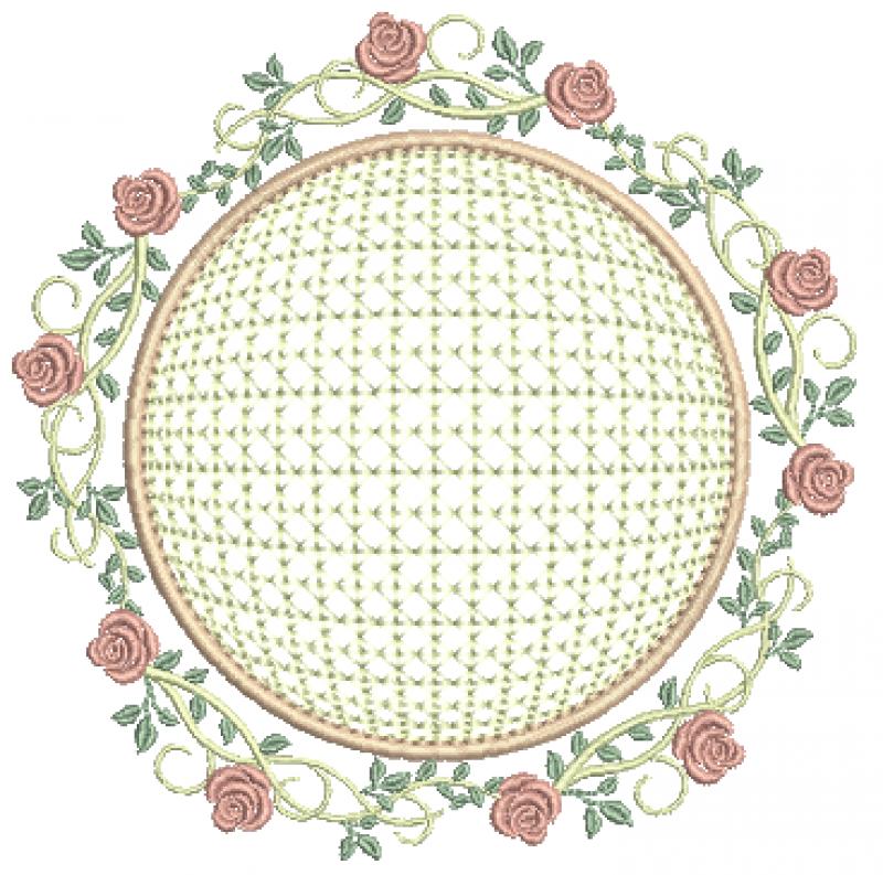 Ramo de Rosas com Moldura em Crivo