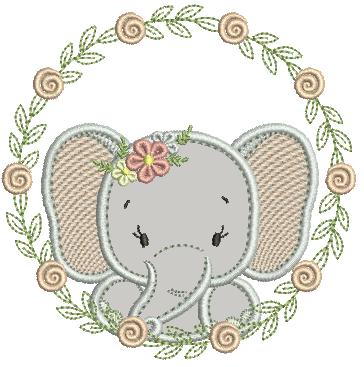 Elefanta na Moldura de Florzinhas - Aplique