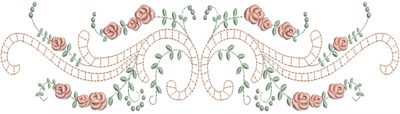 Rosas nos Galhos em Ponto Cheio com Arabesco Delicado