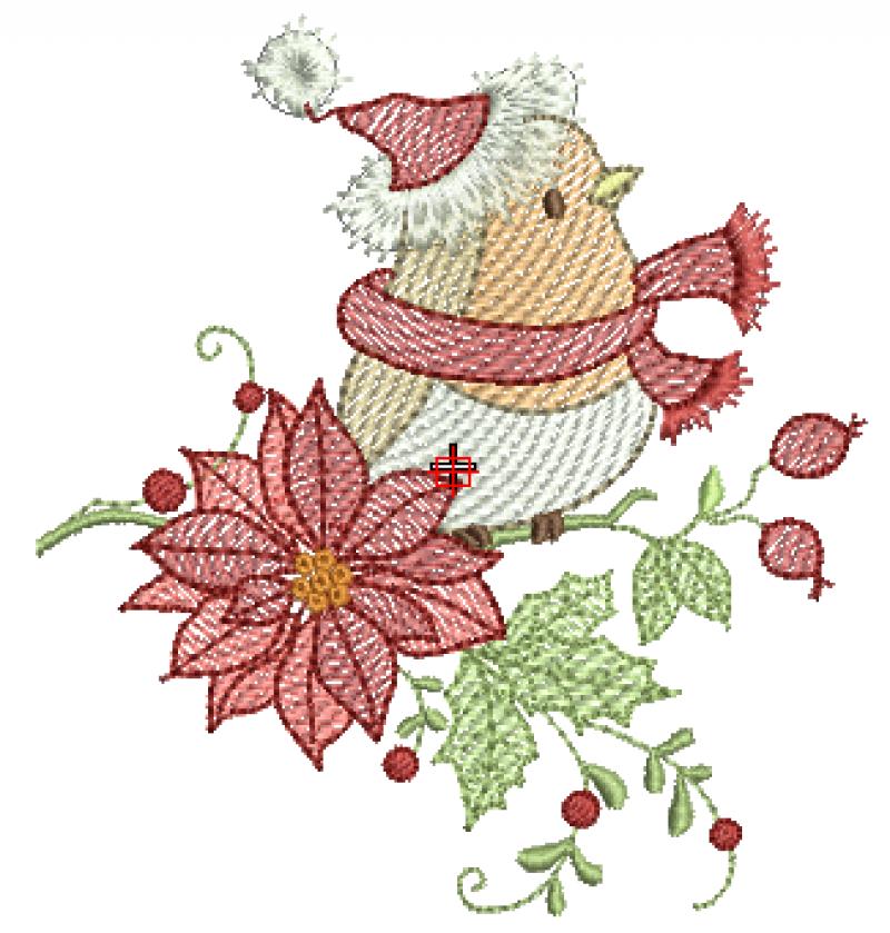 Passarinho com Flor de Natal - Rippled